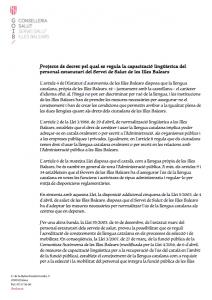 proyecto decreto conocimiento catalán ibsalut