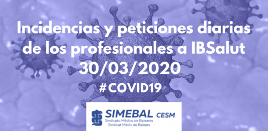 Comunicado incidencias ibsalut de simebal covid19