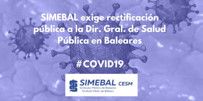 SIMEBAL exige rectificación pública a la Dir. Gral. de Salud Pública en Baleares