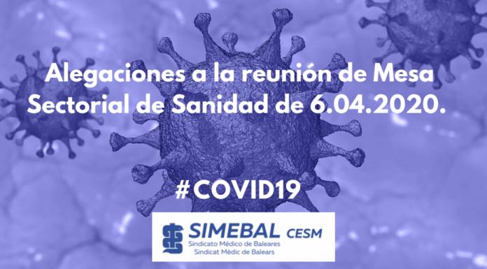 Alegaciones de SIMEBAL a la reunión de Mesa Sectorial de Sanidad de 6.04.2020. COVID19