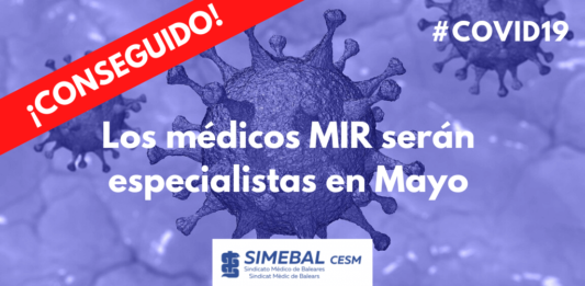 Los médicos MIR serán especialistas en Mayo COVID19 simebal
