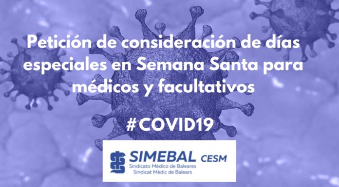 Petición de consideración de días especiales en Semana Santa para médicos y facultativos SIMEBAL