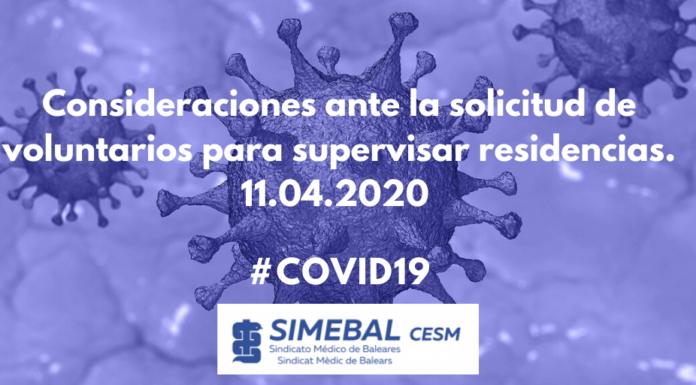 simebal Consideraciones ante la solicitud de voluntarios para supervisar residencias. Coronavirus