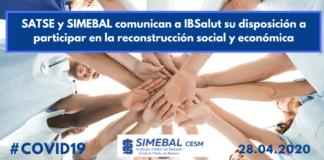 SATSE y SIMEBAL comunican a IBSalut su disposición a participar en la reconstrucción social y económica