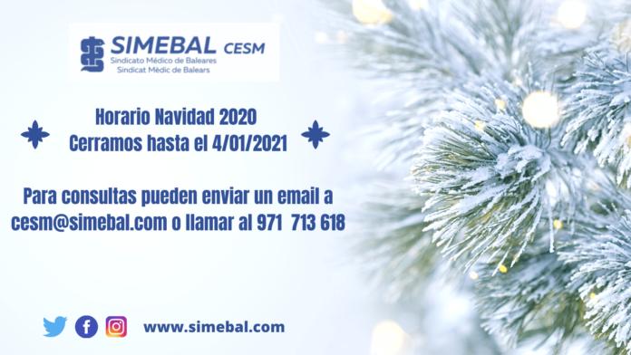 Horario Navidad 2020 SIMEBAL